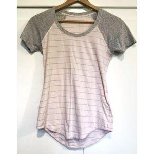 Lululemon Lv Crew Pink Gray Stripe Tee Shirt Sz ?